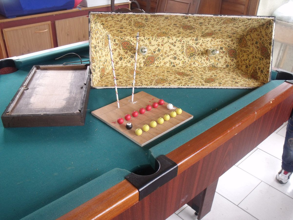 fabrication abat-jour de billard et support boule et queue - petits