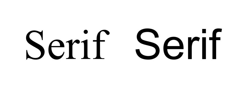 """Izquierda, letra con tipo """"Times New Roman"""", con serif. Nota cómo los pies de las letras """"r"""", """"i"""" y """"f"""" están casi unidos. Derecha, letra """"Arial"""", sin serif"""