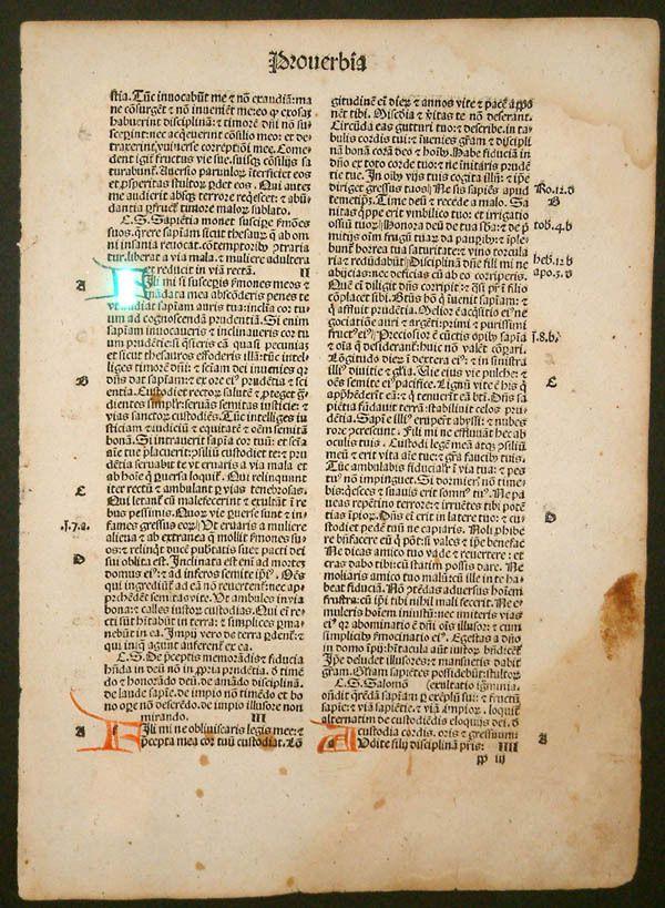 Una página de una Biblia con letra gótica (1497) impresa en Estrasburgo por J.R. Grueninger. Fuente: Wikimedia Commons / GeorgeStepanek (Public Domain)