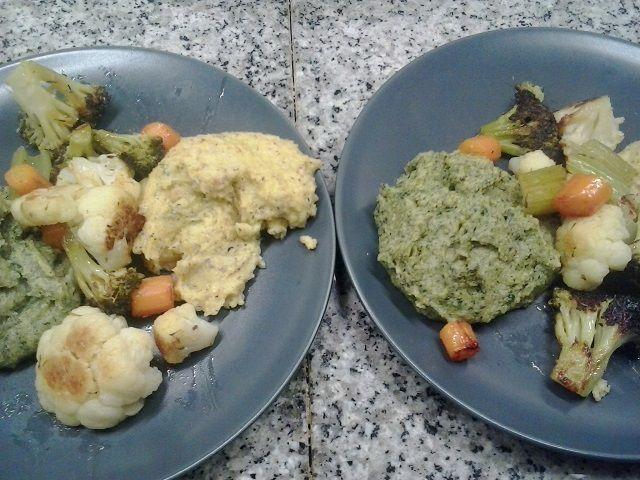 Polenta taragna e agli spinaci concia (con Asiago) e verdure saltate in padella