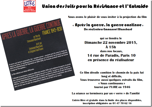 INVITATION UJRE PROJECTION-DEBAT 22 NOVEMBRE 2015 15h.