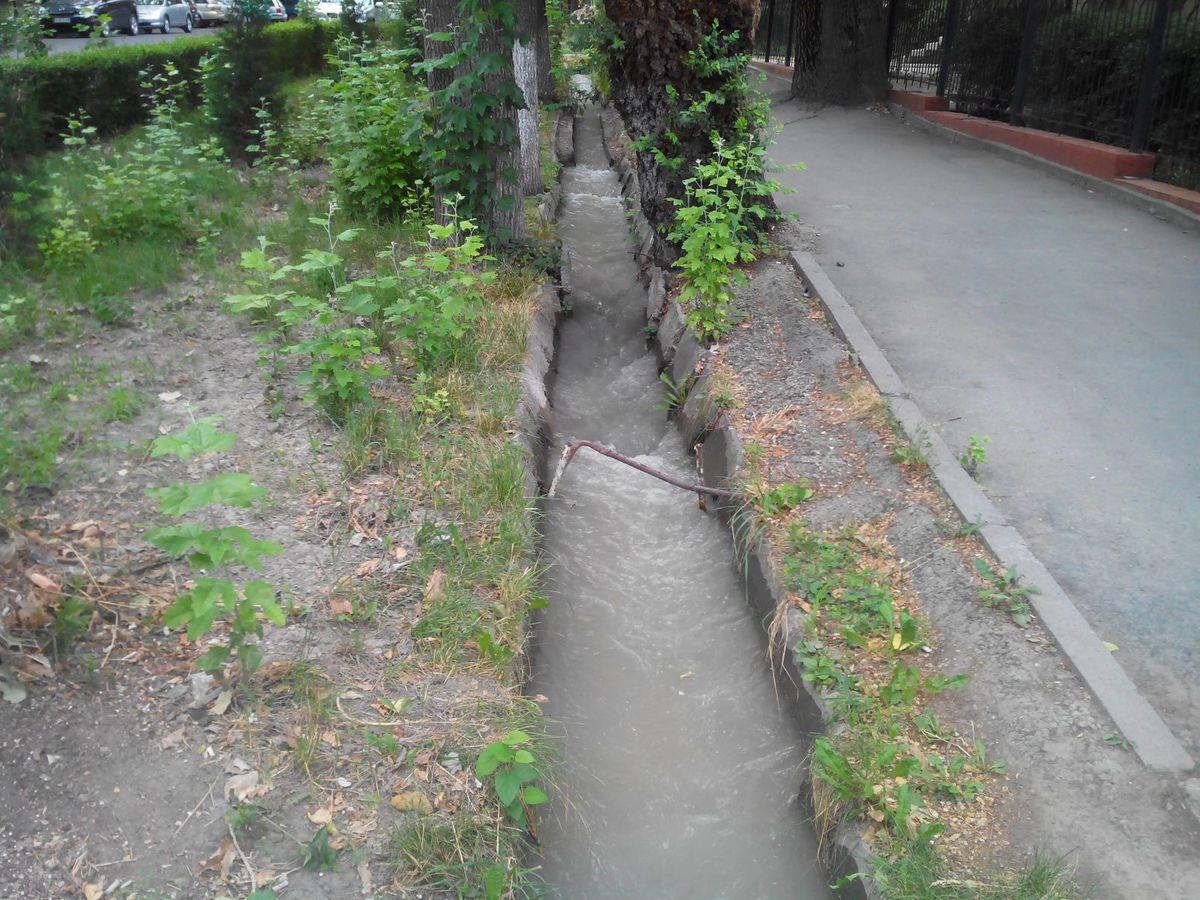 Danc toute la ville on trouve ces rigoles, elles ont 2 fonctions : en hiver et au printemps elles évacuent l'eau de pluie, en été elles amènent l'eau des montagnes pour arroser les nombreux arbres&#x3B; elles sont profondes de 50 cm tout de même , c'est un débit assez impressionnant!