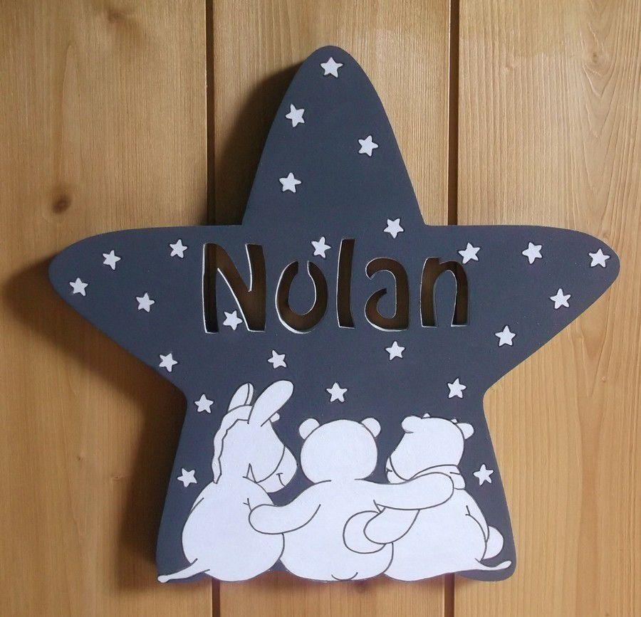Plaque de porte enfant poudre d'étoiles en bois