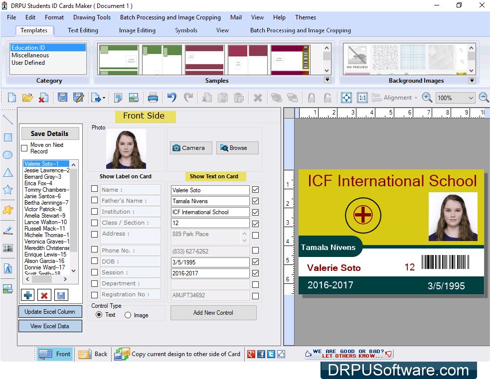 How To Create Id Cards For Students And Export As Image Using