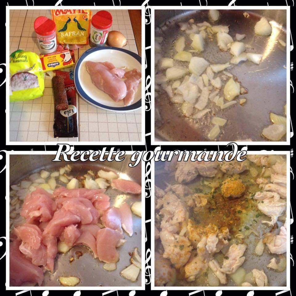 risotto de poulet chorizo aux epices safrané ,curcuma