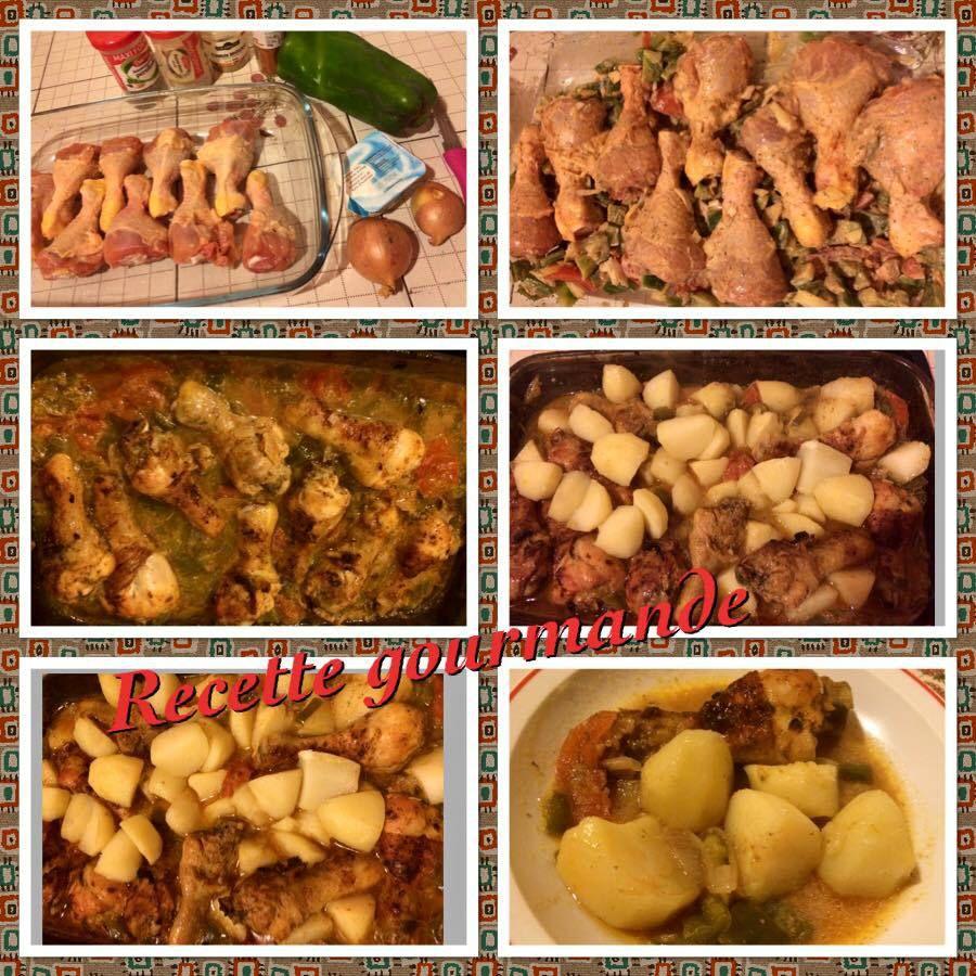 poulet mariné aux épices et pomme de terre