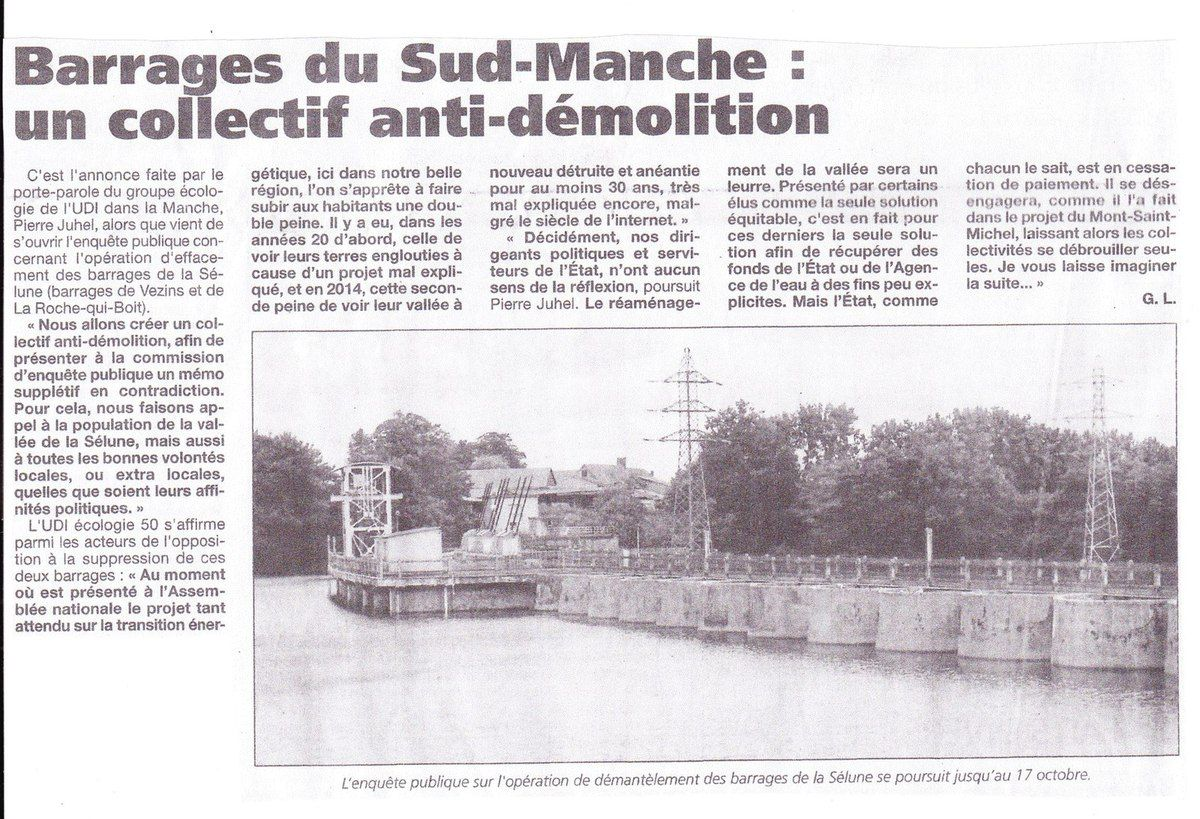 BARRAGES DU SUD MANCHE- VERS UN COLLECTIF ANTI-DEMOLITION