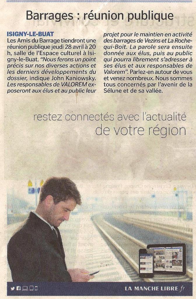 Barrages de la Sélune&#x3B; Réunion publique jeudi 28 avril 20h30 Isigny-le-Buat