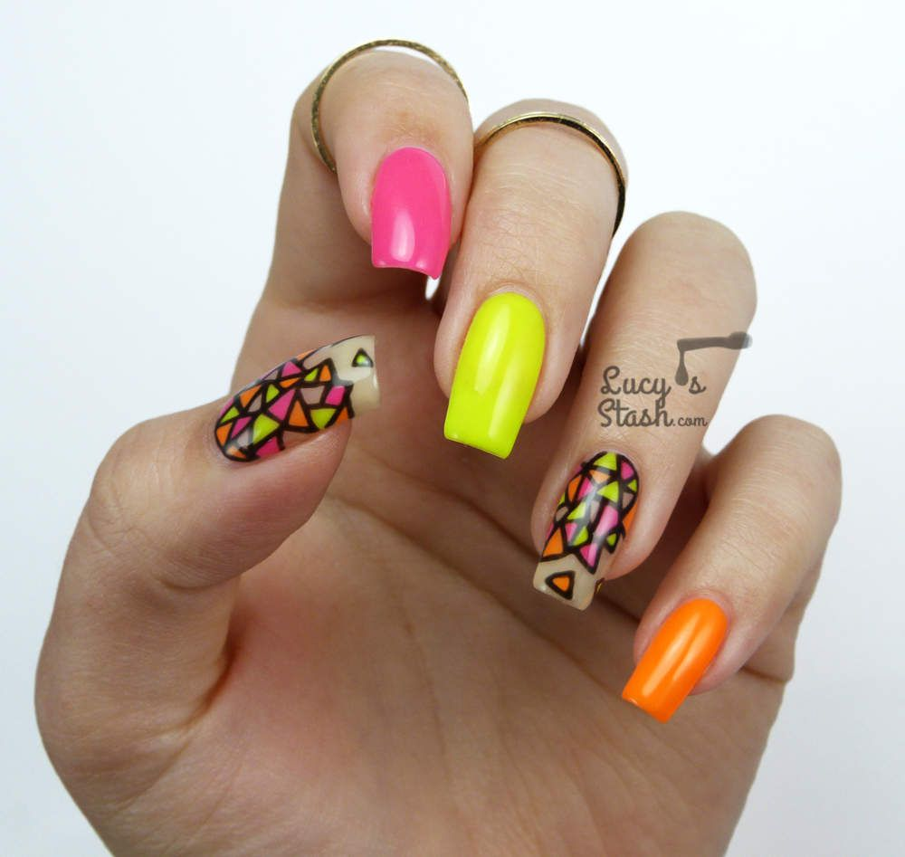 Neon Stained Glass Nail Art | Gel Polish Nails For Nsi