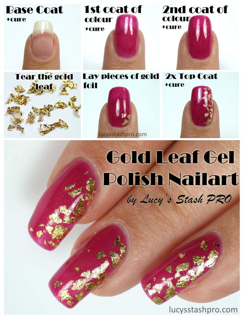 My Golden Leaf Gel Polish Nails For A Wedding + TUTORIAL - Lucy\'s ...