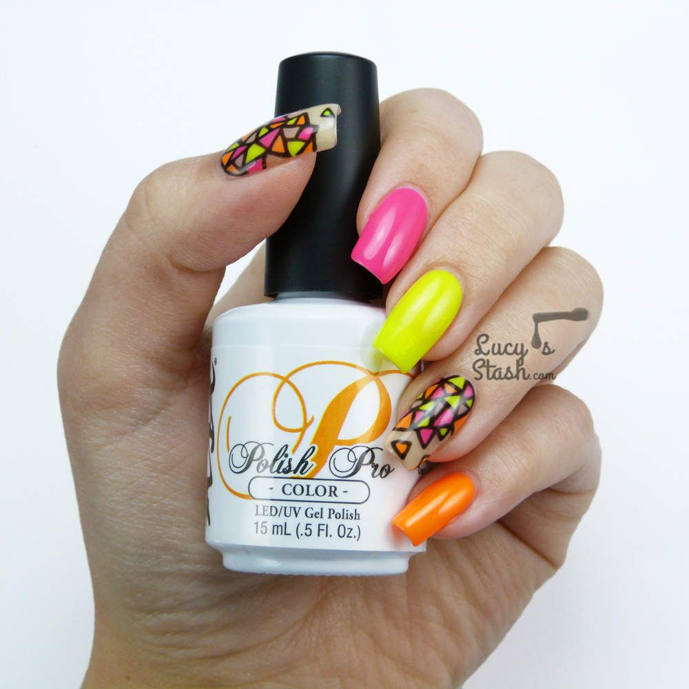 Neon Stained Glass Nail Art | Gel Polish Nails For Nsi - Lucy\'s ...
