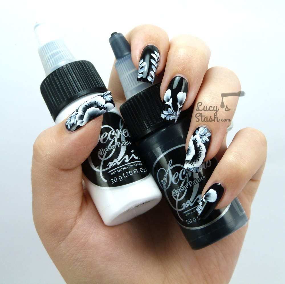 Monochrome Floral One Stroke Nail Art feat. Nsi &amp&#x3B; Models Own