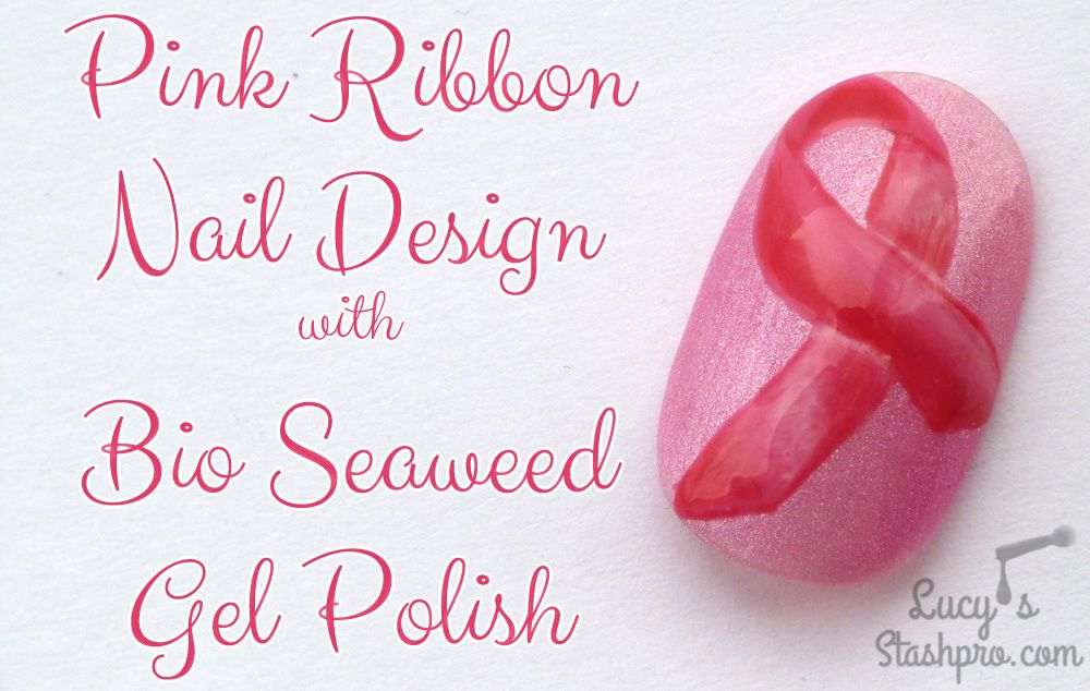 Pink Ribbon Gel Polish Nail Art in Support of Breast Cancer ...