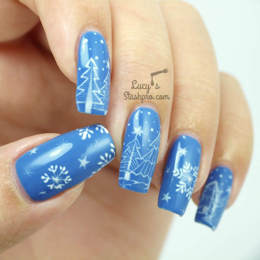 Snowy Trees Gel Polish Nail Art + TUTORIAL