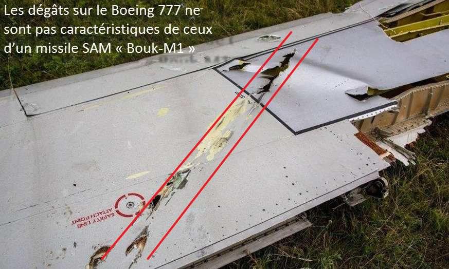 Photo 19. Dégâts sur les surfaces planes du Boeing 777