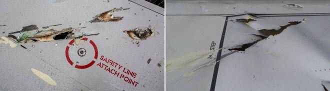 Photo 5. Détail du fuselage du Boeing 777 et Photo 6. Détail de la cabine de pilotage du Boeing 777