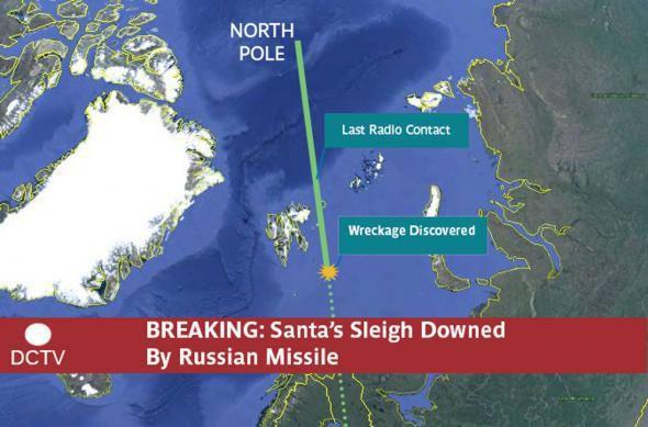 La Russie a abattu le traîneau du père Noël dans l'espace international de l'océan Arctique.
