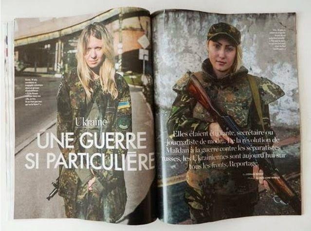 """Le magazine """"ELLE"""" de novembre 2014, consacre un article à une nazie engagée dans le bataillon """"Aïdar""""."""