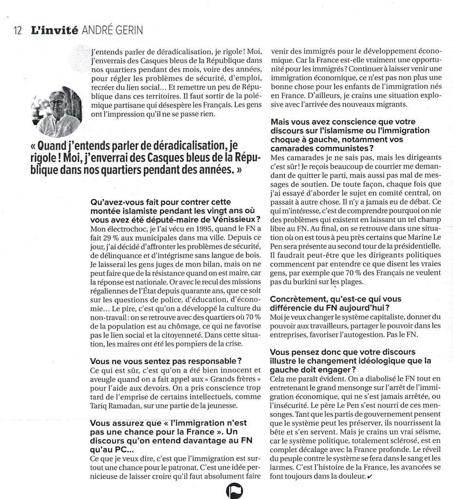 Une interview d'André GERIN à la Tribune de Lyon