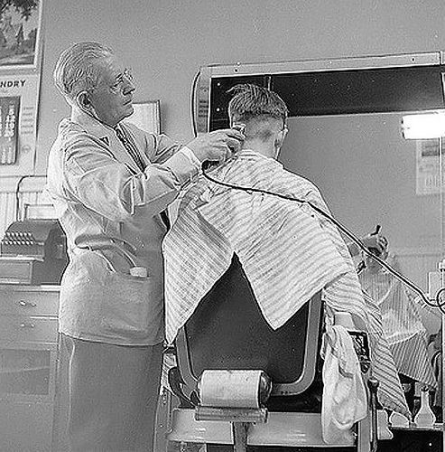 Photo: Nick DeWolf - April 1958 Wakefield, Massachusetts - barbershop