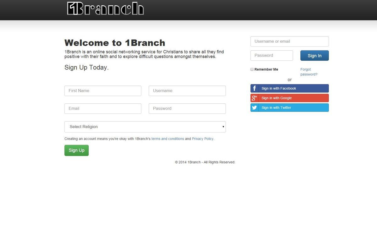 1Branch features a simple, Facebook-like homepage
