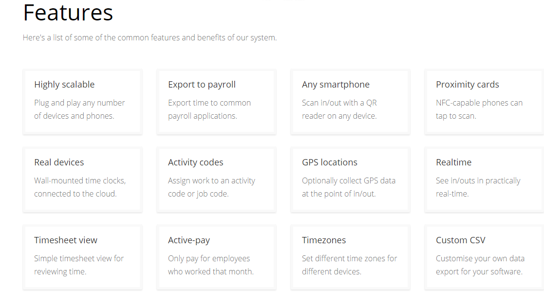 TimeDock's main features
