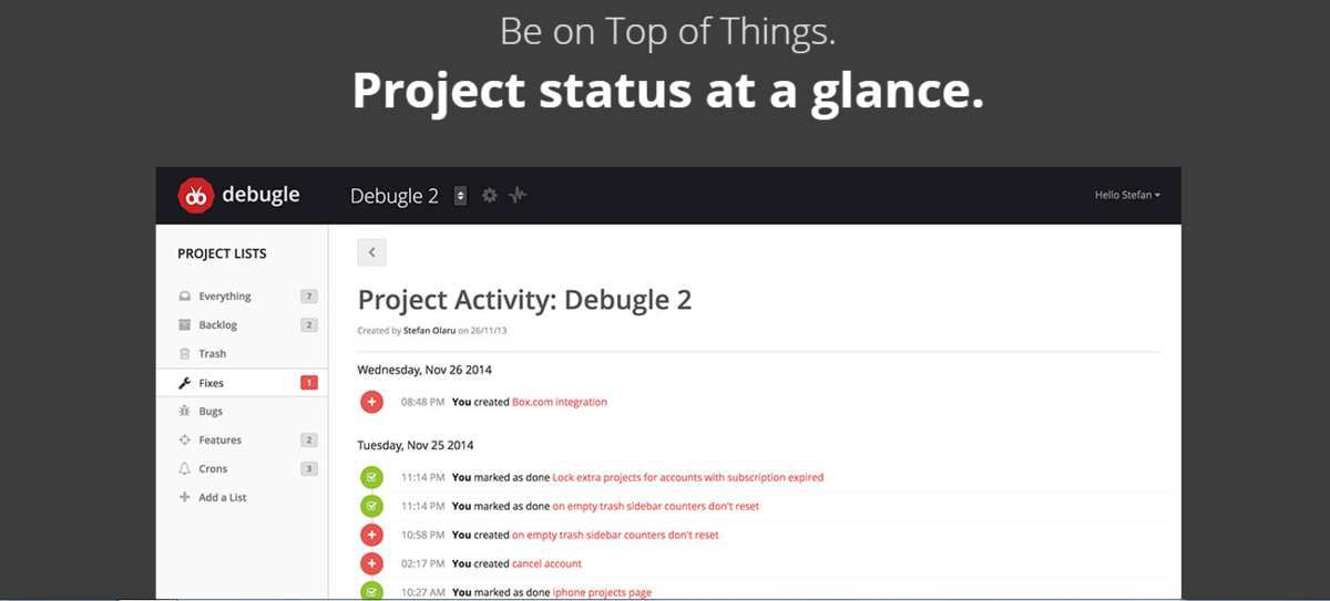 Status project is easy to verify with Debugle