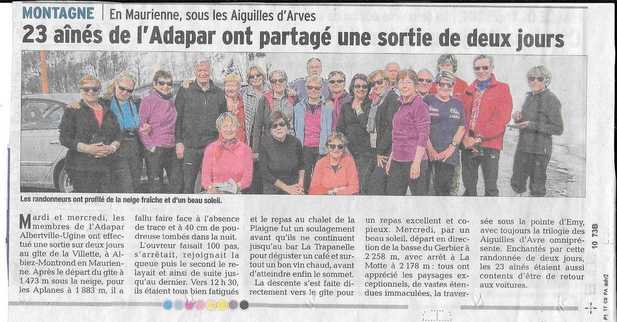Article du Dauphiné Libéré le 11.03.17