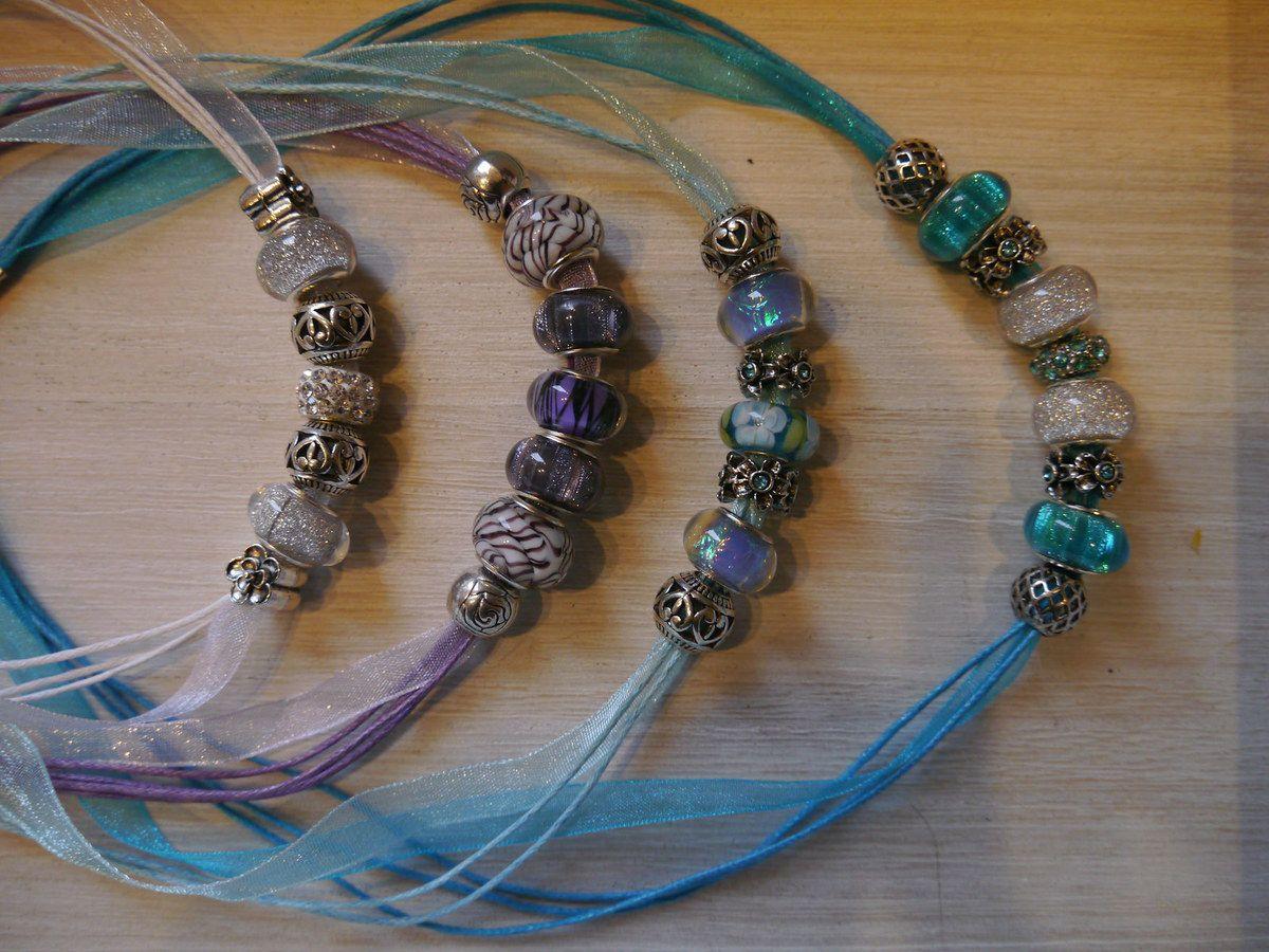 Colliers en organza avec perles à grand trou