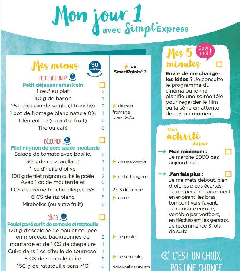 Liste points weight watchers gratuit imprimer