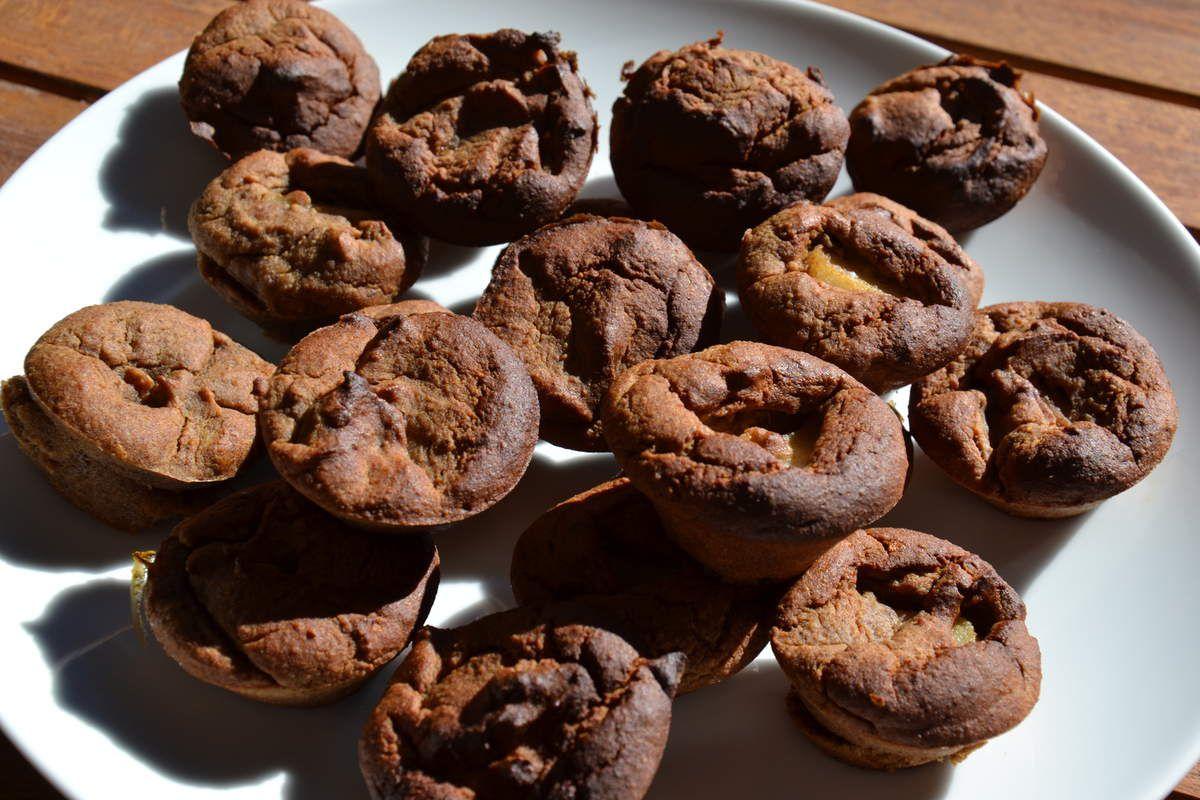 Muffins kaki noisette amande fourré à la poire