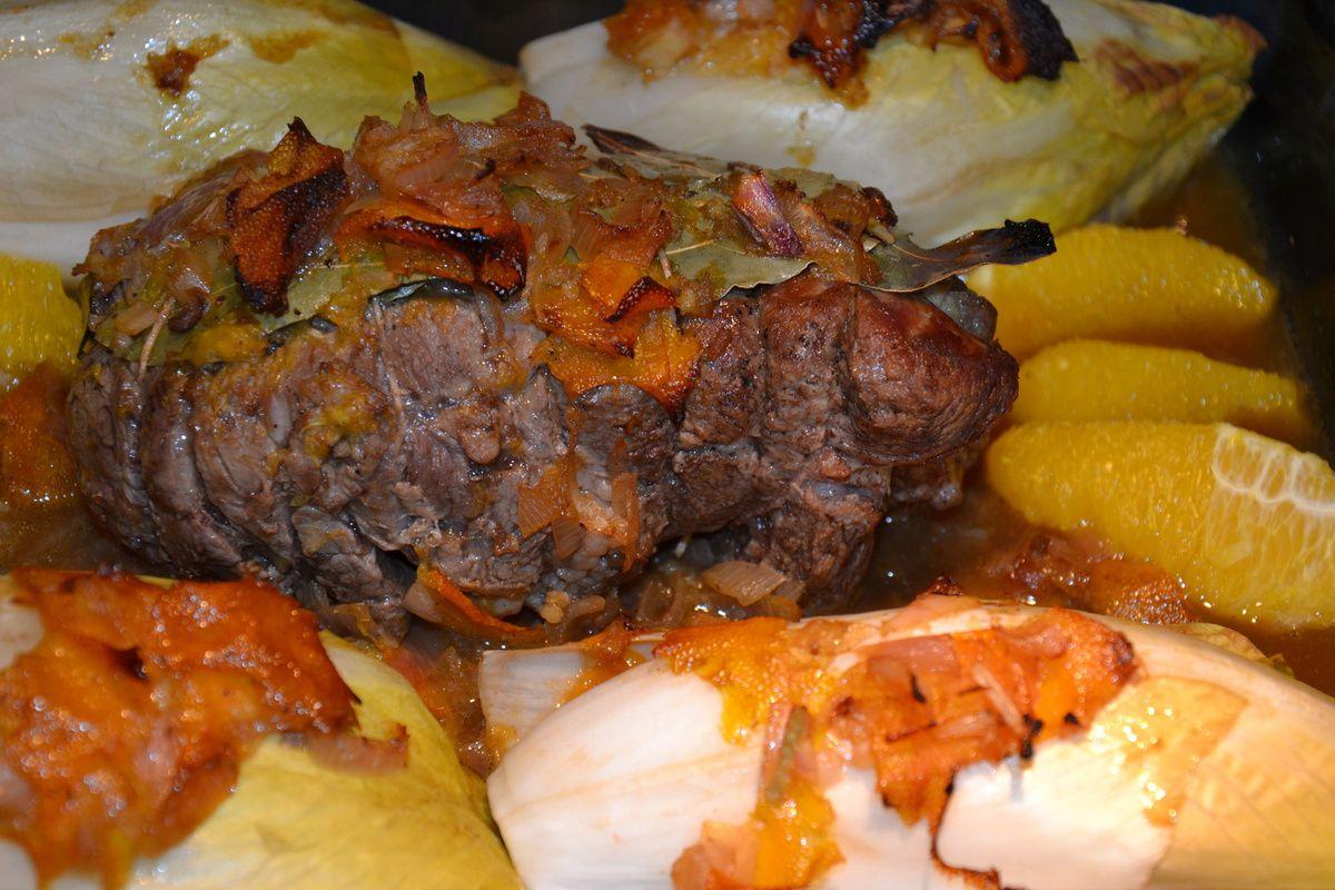 Rôti de veau à l'orange, endives braisées