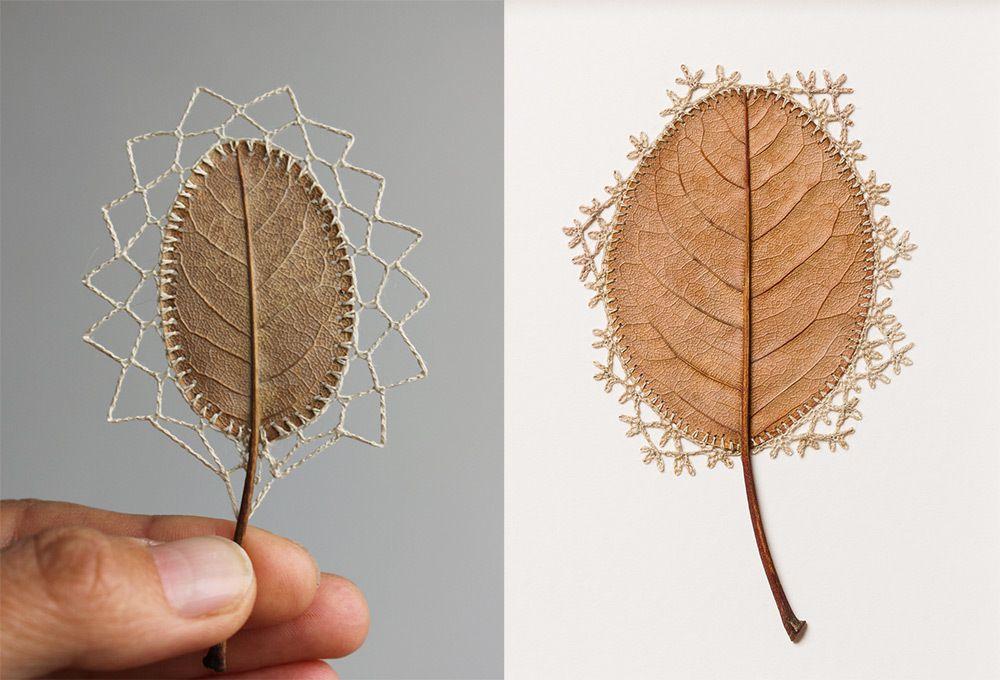 Crochet sur feuilles séchées