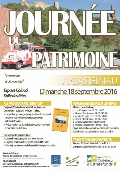 CASTELNAU D'ESTRETEFONDS – JOURNEE DU PATRIMOINE 2016