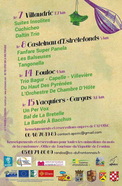 CASTELNAU D'ESTRETEFONDS LE 8 OCTOBRE 2017 - LES BALADES MUSICALES EN FRONTONNAIS