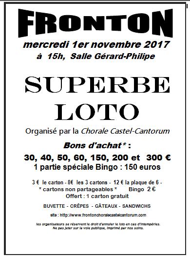 FRONTON - LOTO ORGANISE PAR L ASSOCIATION CASTEL CANTORUM LE 1ER NOVEMBRE 2017