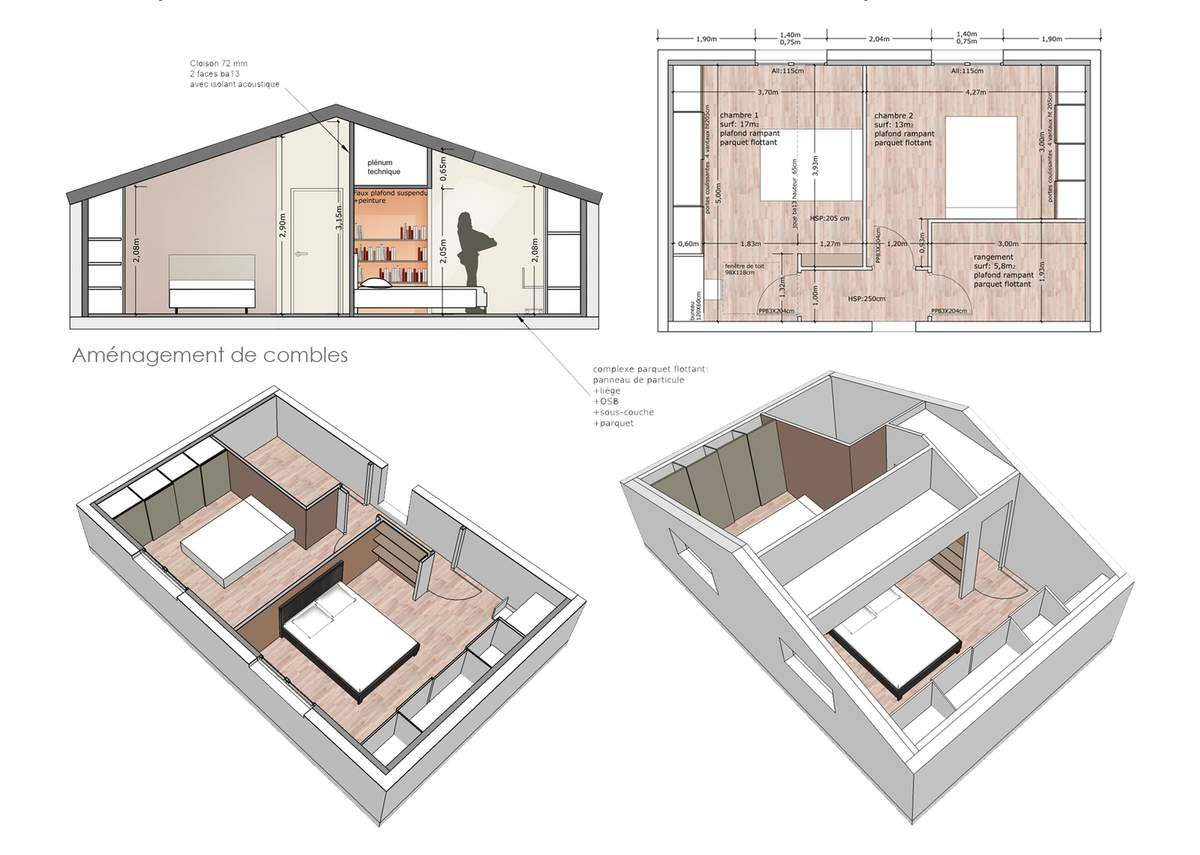 Am nagement de 40m2 de combles architecte d 39 int rieur for Plan amenagement comble