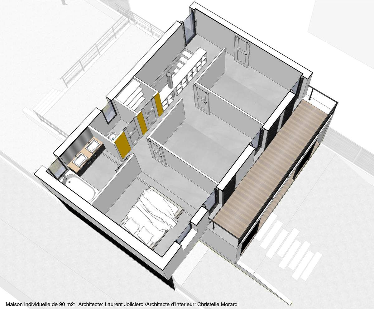 Une maison individuelle de 90m2 architecte d 39 int rieur for Decoration interieur maison 90m2