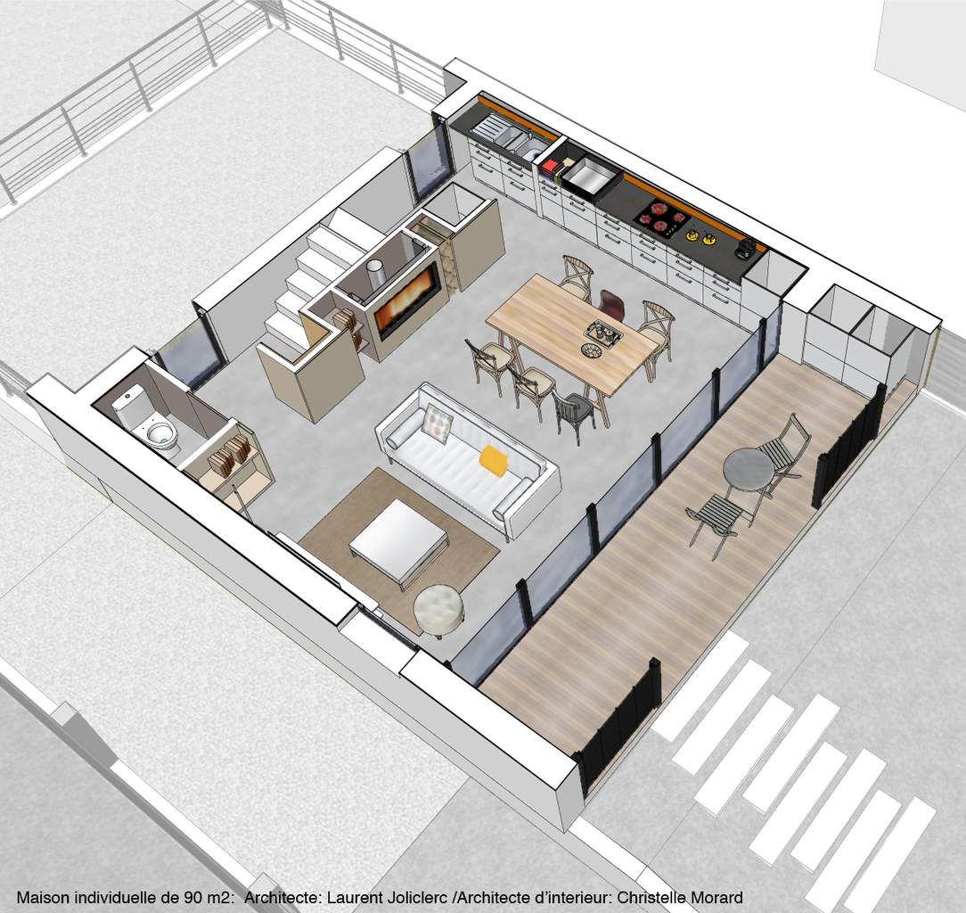 Plan maison 90m2 glamorous plan pour maison images about for Decoration interieur maison 90m2
