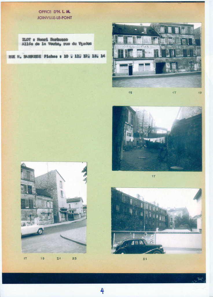 Joinville le Pont. Rue Henri Barbusse. Chemin creux. Rue du Viaduc. Années 50-60 Source: ©  Archives de Joinville Le Pont Habitat- DRt