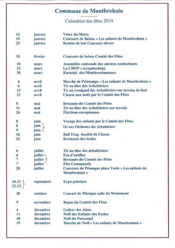 Calendrier Election 2019.Calendrier Des Manifestations 2019 Mairie Montbrehain Over