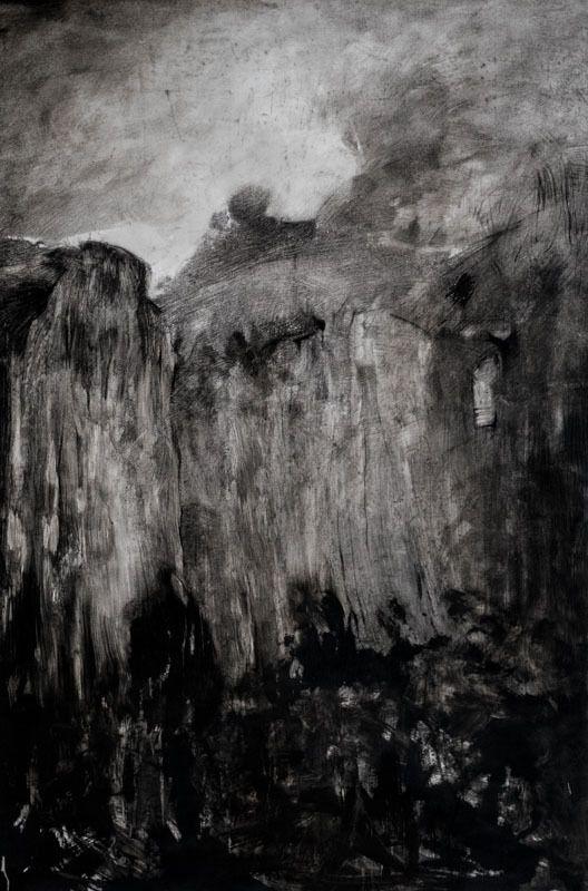 """""""Un voyage d'hiver"""" - dessin, pierre noire et lavis d'oxydes sur papier - 150x100 - 2017"""