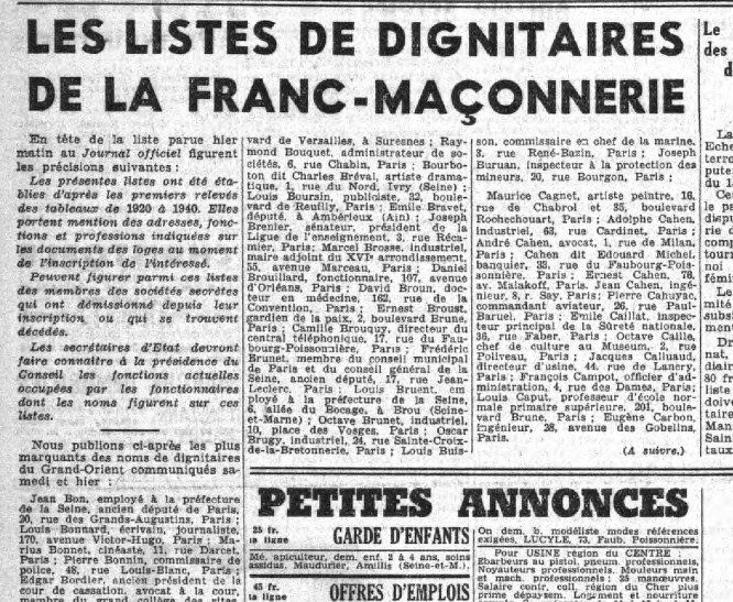 Extrait du journal collaborationniste Le petit Parisien du 25/08/1941