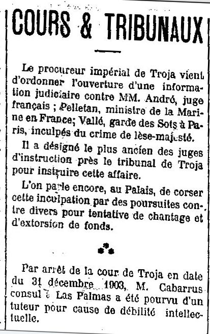 Source : Gallica / Journal Le Sahara 01/01/1904