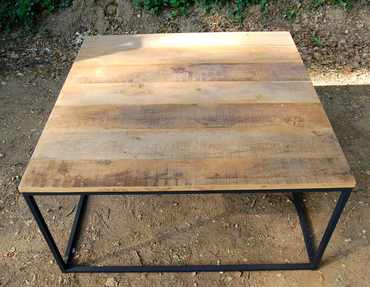 Table d ner m tal et ch ne atelier - Table atelier industriel ...
