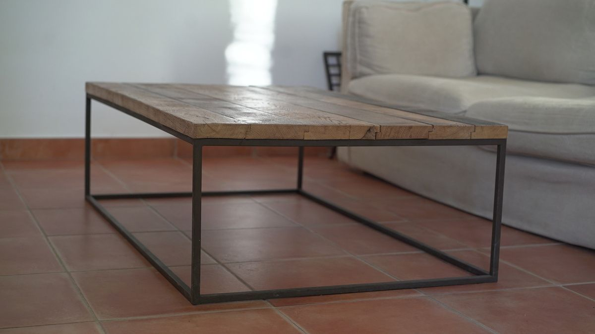 Table Basse Rectangle M Tal Plein Et Ch Ne Atelier Industriel Com