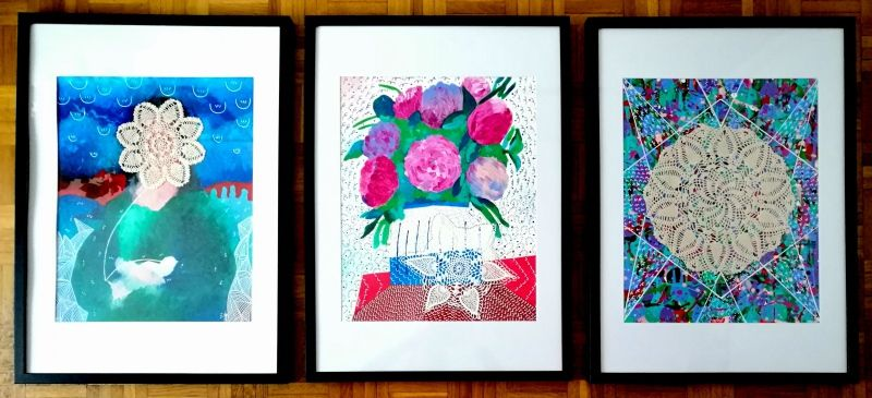 Direct object - Triptych about the doily - Acrylic on paper (40*50 cm each)