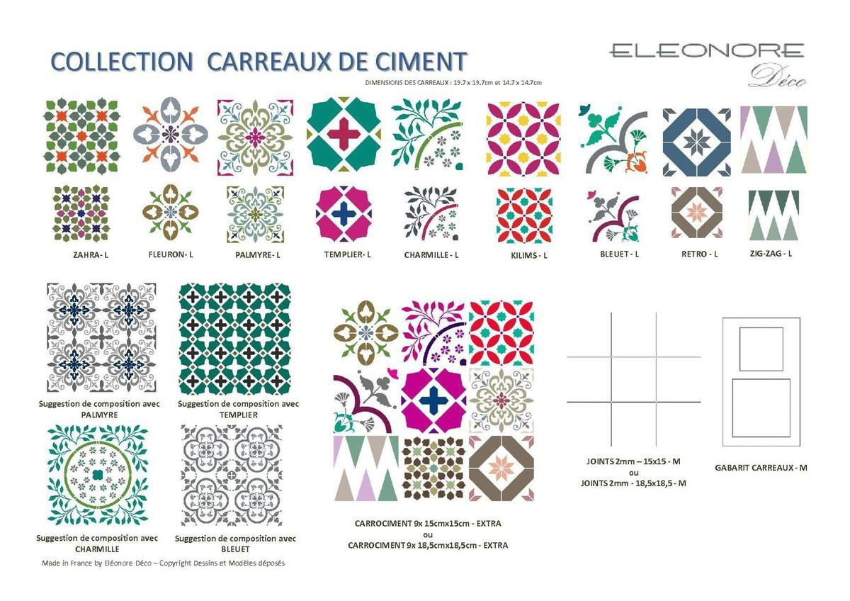 nouveautes collection pochoirs carreaux de ciment clarence d co conseill re el onore d co. Black Bedroom Furniture Sets. Home Design Ideas