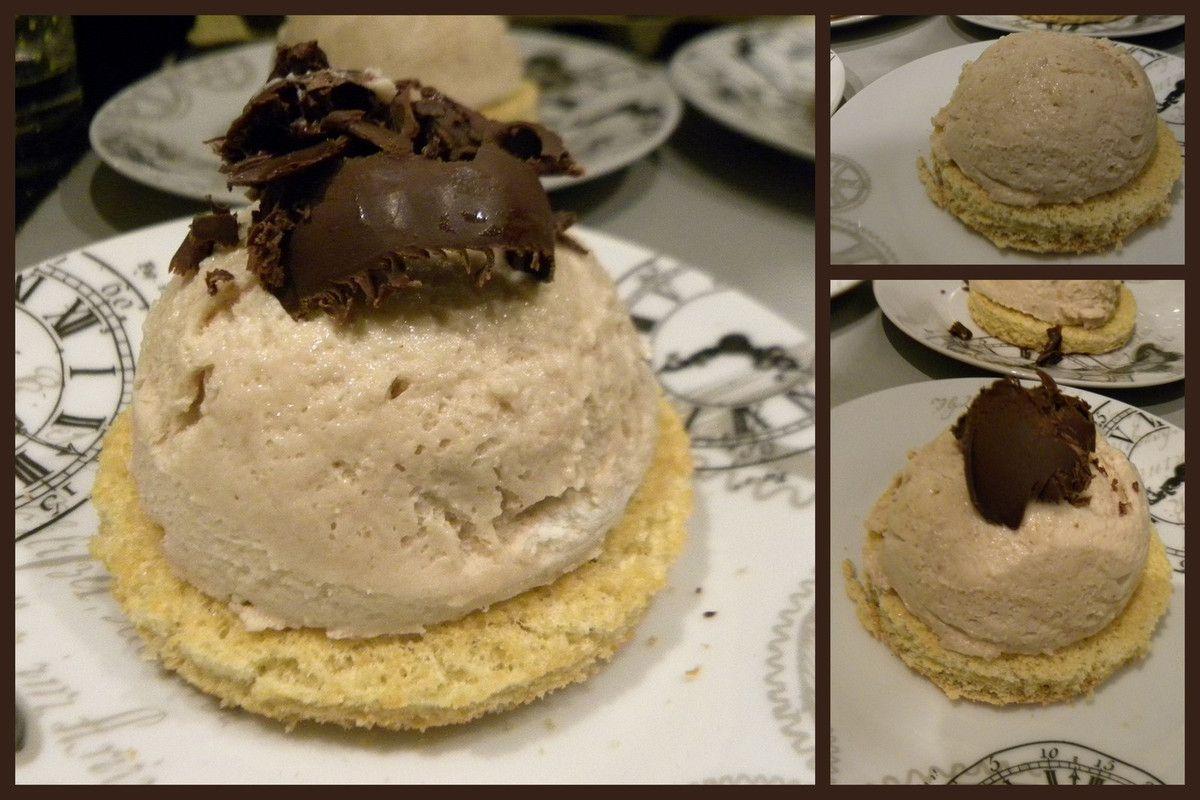 Dome mousse aux marrons et copeaux de chocolat noir  (sans gluten)