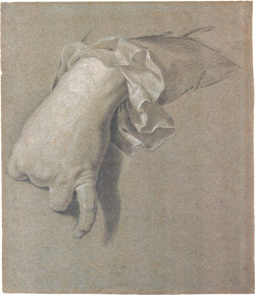 Johann Georg Wille d'après Hyacinthe RIgaud, étude de main. Collection particulière © d.r.